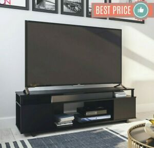 TV STAND 65 Inch Solid Wood Black Oak Standing Flat Screen Media Console Center