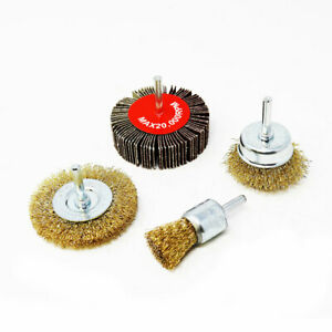 Toolman 4PC Crimped Wire Brush Set Steel Knotted Wire Brush Flap Wheels XTH012