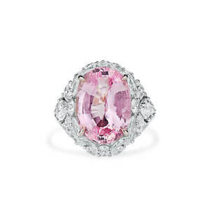 Pink Sapphire Unheated Ring Real 13.81 Ct New Design Natural 18K White Gold GIA