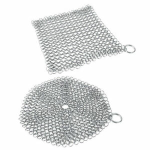 Stainless Steel Cast Iron Cleaner Chain Mail Scrubber Tool Cookware Kitchen