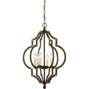 CAL Lighting & Accessories FX-3593-6 Howell Pendant Iron and Antique Gold
