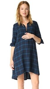 HATCH MATERNITYMaggie Dress in Blue Plaid Flannel - Size 1(S)