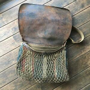 VINTAGE 20S FISHING BAG LEATHER BROWN COLLECTIBLE RARE FREE SHIPPING FROM JAPAN