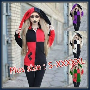 Women Casual Varsity Hoodie Quinn Suicide Squad Goth Cosplay Coat Jacket Outwear