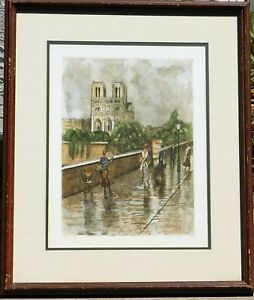 Marianne Almasy colored etching Notre Dame pencil signed 16 x 11 $95.00