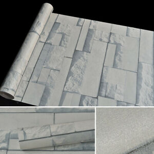 33ft Self Adhesive Wallpaper Roll 3D Stone Pattern Waterproof PVC Wall Paper