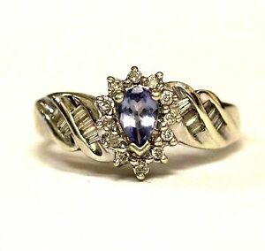 10k white gold ladies .24ct SI2 H pear tanzanite diamond ring 3.2g women estate