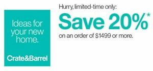 Crate and Barrel 20% off RARE COUPON - works on furniture - exp. 09-20-19 - FAST