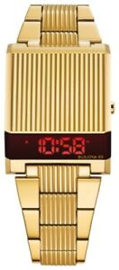 NEW BULOVA COMPUTRON RED LED DISPLAY GOLD PLATED CASE AND BRACELET 97C110