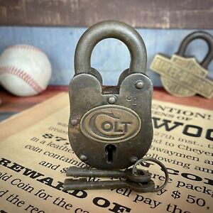 Colt Gun Cabinet Padlock Cast Iron Lock W 2 Working Keys Vintage Antique Finish $22.00