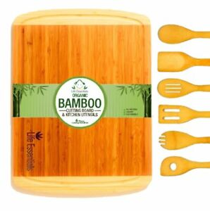 Extra Large 100% Bamboo Cutting Board with Drip Groove+Set of 6 Cooking Utensils