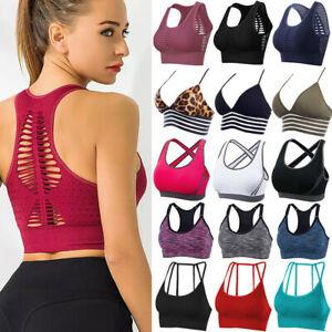 NEW Women Seamless Racerback Yoga Padded Sports Bra Crop Top Exercise Fitness A