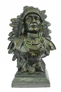 Native American Art Indian Chief Southwerstern Bronze Bust Sculpture Statue LRGE