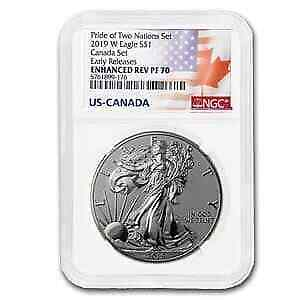 2019-W 1 oz Silver Eagle Enhanced Reverse Proof PF-70 NGC (ER) - SKU#197323