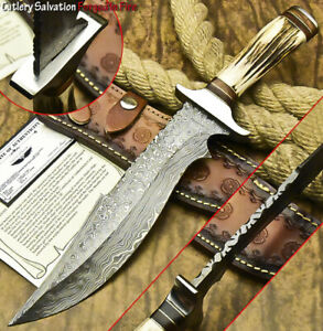 CUTLERY SALVATION HANDMADE DAMASCUS STEEL BLADE HUNTING KNIFE  STAG ANTLER