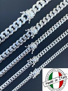 Real Miami Cuban Link Chain Or Bracelet Solid 925 Sterling Silver Box Lock ITALY $69.91