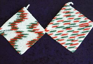2 Crocheted Potholders Hot Pads Double Thick 100% Cotton New USA handmade XMAS