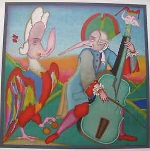 MIHAIL CHEMIAKIN CARNIVAL MUSICIAN ST PETERSBURG Large Unsigned Lithograph Art $119.99