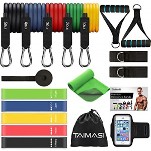 19PCS Resistance Bands Set Workout Bands 5 Stackable Exercise Bands with Handles