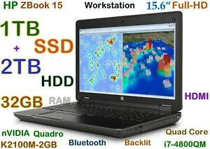 3D-Design HP ZBook i7-4800MQ (1TB SSD + 2TB HDD) 32GB15.6 FHD nVIDIA K2100M BT