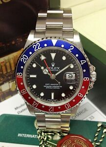 Rolex GMT Master II 16710 Stick Dial Pepsi BOX AND PAPERS SERVICED BY ROLEX