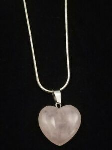 Rose Quartz Heart Necklace Gemstone Pendant on Sterling Silver Chain