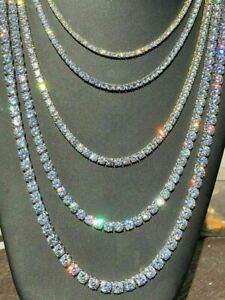 Tennis Chain Real SOLID 925 Sterling Silver Single Row ICED Diamond Necklace $74.51