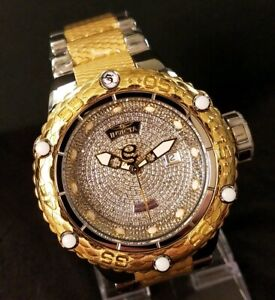 Invicta Subaqua Noma VI Swiss Automatic Diamond Watch 18k Gold Plated Two Tone