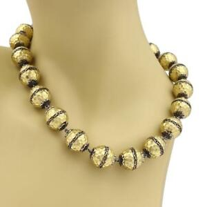 Estate 18k Yellow Gold Hammered Scroll Design Large Beaded Necklace 165 grams