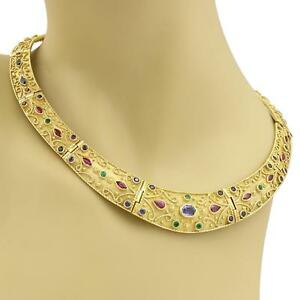 Estate 18k Gold Sapphire Ruby Emerald Scroll Design Graduated Collar Necklace