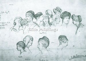 SKETCH HAIRSTYLES ANCIENT SCULPTURES ALMA TADEMA ARTIST PAINTING OIL CANVA REPRO $181.64