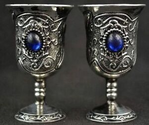China Handwork Tibet Silver Carving Flower Inlay Blue Bead pair Wine Cups