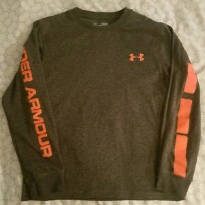 Boys' Size Small UNDER ARMOUR Heat Gear Loose Long Sleeve Shirt GrayOrange