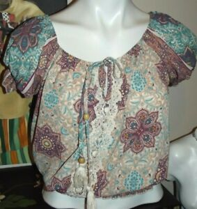 Maurices Short Sleeve Peasant Blouse Floral Mandala Size S $6.49