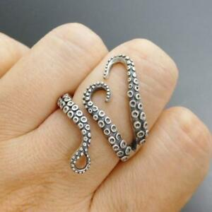 Handmade Unique 925 Sterling Silver Octopus Tentacle Wrap Ring Size Adjustable $22.95