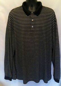 2 Under Mens Polo Shirt Sz 3XL Black White Stripe Long Sleeve Ribbed $11.99