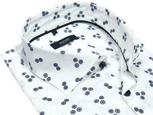 White Casual Mens Printed Shirt Dark Blue Flowers Mmer A091