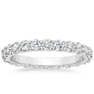 1.50 CARAT Round Natural Diamond Eternity Wedding Band 14k White Gold Women Ring