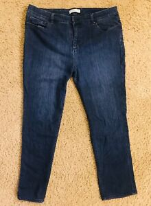 Womens COLDWATER CREEK natural fit cropped Blue jean pants casual stretch L 14