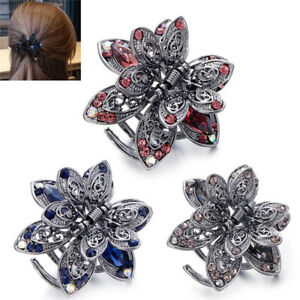 Crystal Hair Clip Rhinestone Hairpin Claw Clamp Wedding Women Hair Accessory TR