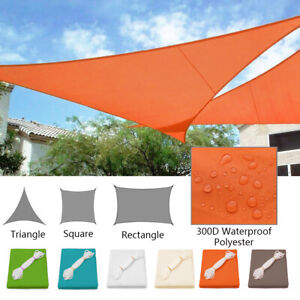 Waterproof Sun Shade Sail Patio Pool Top Cover Canopy 300D UV Outdoor Awnings
