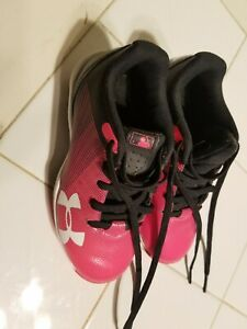 Under Armour infant Size 10K Soccer Football Shoes Cleats Black pink white used $21.00