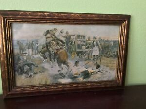 VNTG Charles M. Russell Bronco To Breakfast Framed Sighned Chromolithograph Rare