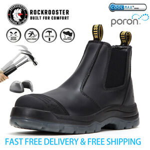ROCKROOSTER Mens Work Boots Safety Shoes  Steel Toe Cap  Slip On US STOCK
