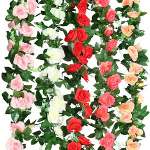 1 2 4 pcs 8Ft Artificial Rose Garland Silk Flower Vine Ivy Wedding Garden String