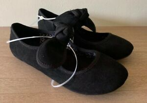 Cat amp; Jack Youth Girls Faux Suede Black Sondra Instep Bow Ballet Flats $8.99