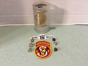 SMITH & WESSON LOT: Frosted Beer Mug Embroidered Patches & Lapel Pins