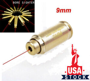 Red Dot Laser CAL Dia 9mm Bore Sighter Cartridge Brass Bullet Shaped Boresighter