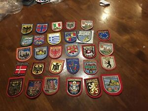 VTG ASSORTED Countries 29 Souvenir Sew On Patch Lot