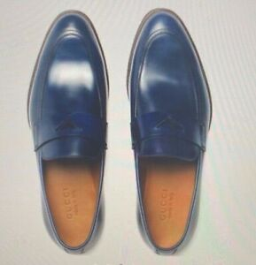 Gucci Mens Blue Cruise Collection Leather Loafers Dress Shoes NIB MANY SIZES